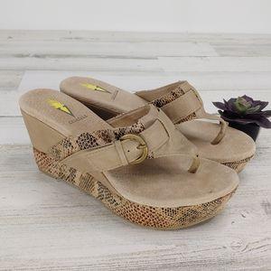 Volatile Brown Snakeprint Wedge Sandals